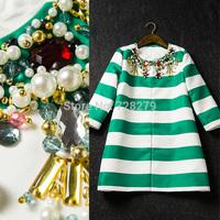 2014 Women's Outwear  Stripe print gem fashion beading ladies three quarter sleeve trench Winter Coat Women's Clothing