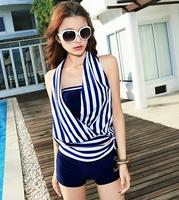 2014 Summer Hot Sale Lady Large Size  Modest Swimwear Women Bathing Suits Padded Blue Red Stripe Sexy Push Up Tankinis Set 2 Pcs