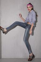Female skinny jeans pants quality decoration pocket fashion pencil long trousers   6002