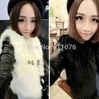 2pcs/lot 2014 Winter Women Artifical Faux Fur Vest Coat With Leather Long Sleeve Waistcoat Jacket Outwear for women SV005844