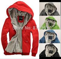 Big Promotion 2014 new fashion men's plush thick warm overcoat winter coat fleece cotton padded Men jacket outwear free shipping