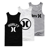 Summer Quality New Men's 100% Cotton Tank Tops Hurley )(  Logo Print Free Shipping Outlets Male Letters Vest Sleeveless Shirts
