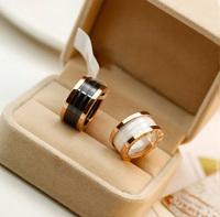 New top 18k rose gold plated Titanium circular design white/black Ceramic men&women unisex Brand vintage ring (UVOGUE UR0045)