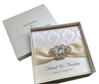 Luxurious Boxed Flocked Wedding Invitations With Rhinestone Brooch-----PA005