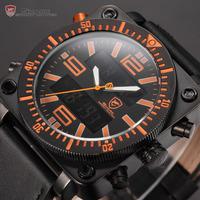 Lantern Shark Series Male Clock Chronograph Dual Movement Auto LCD Date Day Display Stopwatch Men Quartz Sport Watch / SH127