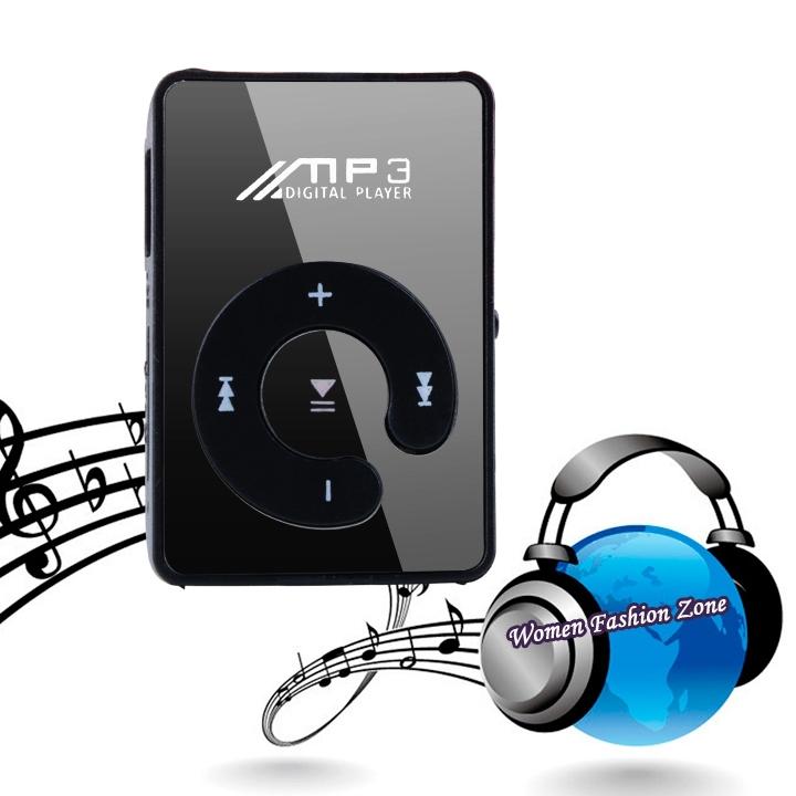 Brand 16GB Mini Clip mp3 player belt mirror screen SD TF card sport memories of the mirror panel Un reproductor de musica 04793(China (Mainland))