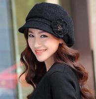 New Arrive Winter Autumn Warm Fashion Hat For Women Lady Hats Chapeu Feminino With Flower Cutton Cap Fedora