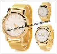 Wholesale Roman style Reticularis Watchband Watches Hot Steel Gold Rhinestone Watch Fashion Women Dress Wristwatch Free Shipping