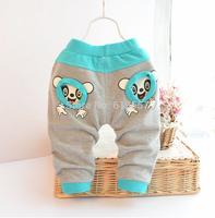 Hot Sale! New 2014 Autumn 100% Cotton Baby Kids Trousers, Infant Boys Cartoon Casual Long Pants Haren Pants 3 Colors  F15