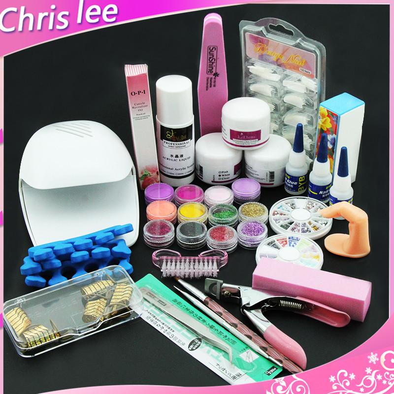 Nail Art Pink Hand Dryer Blower Acrylic Liquid Powder Form Tips Tools Kit Set(China (Mainland))