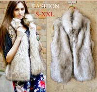 2014 Fall Fashion For Women Fur Vest Faux Vest Medium-long Stand Collar Artificial Fur Coat Vest China Imported Clothes E 91