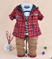 2014 new boys plaid blazer+shirt+pant clothing sets 3pcs kids clothes sets baby boy coat with hood set boy