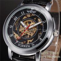 WINNER Automatic Mechanical Mens Swirl Skeleton Black Dial Leather Wrist Watch Free Ship Christmas Gift