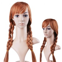 2 Tails Frozen Anna Anime Cosplay Wig Peruca Ponytail Brown Blonde Synthetic Princess Hair Wigs For Kid Gril Halloween Perucas P
