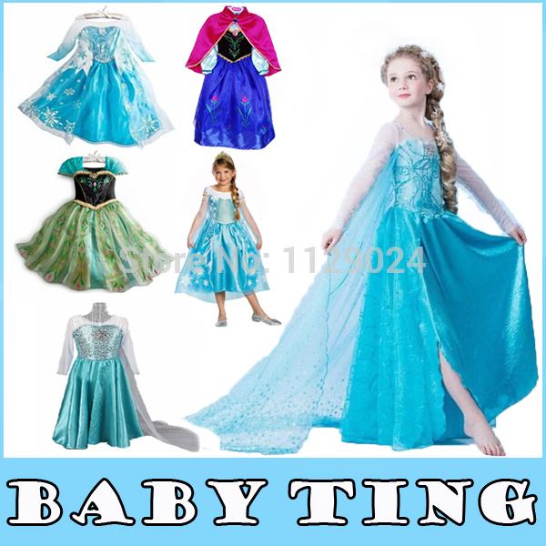 New Frozen Dress Elsa & Anna For Girl Princess Lace Chiffon Cosplay Dresses Cartoon Red Cape Diamond Brand Children Kid Clothes(China (Mainland))