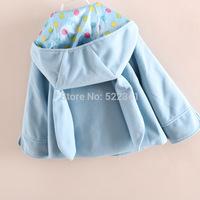 Autumn new style Baby girls cute rabbit hat woolen cardigan jacket girls kids children's children coat baby coats