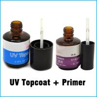 2 PCS UV Topcoat + Primer Base Gel Nail Art Tips Builder Acrylic UV Gel Set