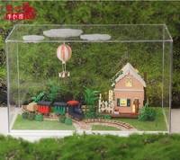 DIY LED LIGHT transparent box Dollhouse Central Travels sweet world tour