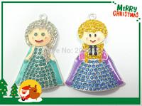 Newest !  10pcs/lot    2 Designs (5pcs each ) Snow Princess Rhinestone Pendants  For Chunky Necklace Making