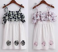 Vestidos 2014 Brand Design Vintage Europe Style Flower Floral Print Off Shoulder Embroidery Dress Women Tank Dress Beach Dresses