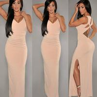 Free Shipping Sexy Sleeveless Backless Sheath Long Dresses Womens 2015 New fashion Length Black Tight Club Maxi Dress Evening