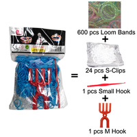 300 Packs/lot (600 Bands + 25 S-Clips + 1 Small Hook + 1 M Hook) Loom Bands Set Bag Rubber Loom Bands DIY Bracelet (LB-03)