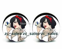 Wholesale 60pcs snow white logo plug acrylic screw fit ear plug flesh tunnel ear gauges mix sizes 6mm-25mm A0202