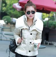 WWY43 2014 Winter Wool Collar Down Jacket Thick Warm Down Jacket Stitching Slim Short Coat