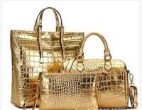 2015 Newest Gold color metallic big handbags 3 handbags set Women's crocodile embossing PU leather handbags shoulder bags