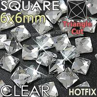 Square 6X6mm 350pcs/Lot White Clear Crystal HotFix FlatBack Rhinestones glass strass,Fancy shape DMC Hot Fix stones for wedding