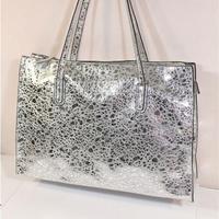 2014 Autumn new silver color drops embossing genuine leather shoulder bags women's metallic handbags big bags ladies