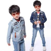 2014 New Brand Fashion Winter Boys Denim Jackets Spring/Autumn Jeans Patchwork Kids Boy Coats Winter Jackets Children Outerwear