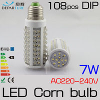Free Shipping 7W E27 108pcs DIP LED Corn Bulb Lamp Light 220V 230V 240V LED Lampadas ,Warm/Warm White 360 degree High Bright