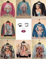 Free Shipping High quality, 3D Printed Beautiful Women Marilyn Monroe Print, 3D Sweatshirt Men&Women