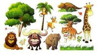 DIY Tiger ,lion ,Parter zoological garden Wall Sticker Children Room Removable Wall Poster