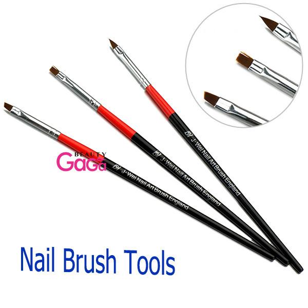 BeautyGaGa 3pcs/set Flat Oblique & Tip brushes head Nail art Beauty Flower painting Polish pen Tools Gel Nail brushes(China (Mainland))