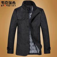 Famous Brand New Men Overcoat Stand Collar Hot Sale Classic  Jacket Woolen Warm Winter Coat Black/Grey/Navy/Green/Khaki RY0382