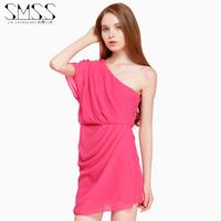 SMSS  Fashion Shoulder shoulder solid colored Chiffon Dress
