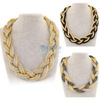 Hot Women Bohemian Punk Fashion Simple Metal Braid Twist Long Chain Necklace Crude choker Statement necklace B16 SV005996