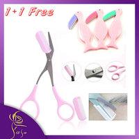 Beauty Eyebrow Trimmer Korea Eyebrow Scissors Cut Comb Artifact New Scissors Eyebrow Scissors Plus Sobrancelha Razor 1+1 Free