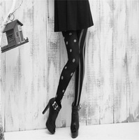 2014 New Round Circle Dot Black and Gold Autumn Pantyhose for Woman , Woman Sexy Black Tights