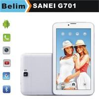 Free Shipping Sanei G701 MTK6572 7inch Tablet PC Dual SIM Dual Standby 512M 4GB Bluetooth 2G Calling GPS WiFi
