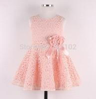 1pc Retail NEW 2013 Summer girl dress,lace, bow princess dress, sleeveless fashion, elegant dress for girl, pink, Free Shipping