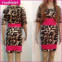 Leopard Print Bodycon Club Party Dresses Sexy Women Summer Dress 2014 Short Sleeve Satin Bandage Dress
