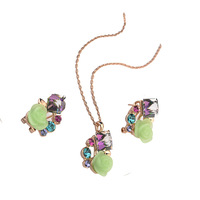 Promotion sale/Hot,Wholesale/High qualityNew Austria colorful crystal gold plated/Necklace/Earrings/jewelry set for women