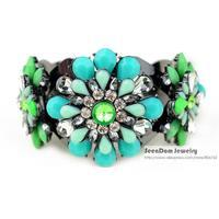2014 Summer Hot Styles Vintage Grace Flowers Acrylic Bracelet Colorful Rhinestone Crystal Pulseira SeenDom Jewelry SCB001