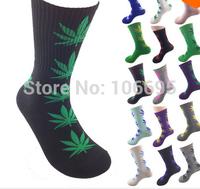 6pcs/lot Men Socks Cotton Unisex Sock Girl 2014 New Hipop Weeds Long Thick Skateboard Cannabis Marijuana RU032 Free shipping