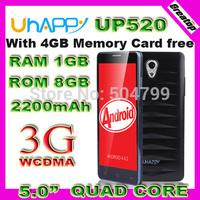 "Ultra thin Uhappy UP520 Quad Core Mobile phone MTK6582 screen 5.0""HD 960x540 capacitive 8.0MP Dual Sim 3G WCDMA smart phone"