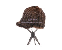 BG30456  Genuine Knitted Mink Fur Hat Wholesale Retail Women Fur Hat Winter Kintted Brown And Black Fur Cap