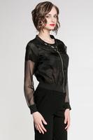 2014 new style shirt women casual blouseshirt yarn tranparent sleeve zipper body blouse femininas